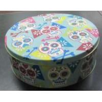 CMYK Printing Middle Tall Round Cake Biscuit Cookie Storage Tin Box Manufactures