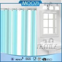 Shower Curtain Green White Strip Polyester Shower Curtain Fabric Manufactures
