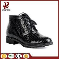 China black real leather shoelace ankle flat boots on sale