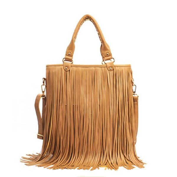 Quality fake leather handbags with tassel decor for sale