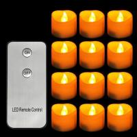 Yellow Flickering Flameless Votive LED Tea Lights Candles with Remote Control
