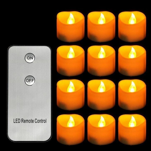 Quality Yellow Flickering Flameless Votive LED Tea Lights Candles with Remote Control for sale