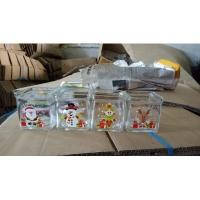 China square glass candle jars for Christmas on sale