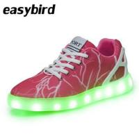 Canvas pink led light up shoes,customized brand women casual walk shoes sneakers for adult Manufactures