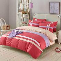 Buy cheap Charm Red 100% Cotton Luxury Bedding Set Stripes Plaids Bedding Duvet Cover Pillowcases Fitted Sheet from wholesalers