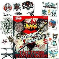 China Savvi Biker Tattoos Party Favor Costume Set (35 Biker Temporary Tattoos Bad to the Bone) on sale