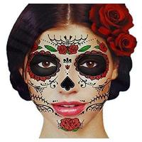 China Glitter Red Roses Day of the Dead Sugar Skull Temporary Face Tattoo Kit - Pack of 2 Kits on sale