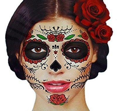 China Glitter Red Roses Day of the Dead Sugar Skull Temporary Face Tattoo Kit - Pack of 2 Kits