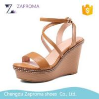 Genuine Leather 10CM Fashion Woman High Heel Wedge Ankle Strap Sandals Manufactures