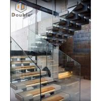 Triple/Three Stringer U Shape Straight Glass Staircase with Marble Tread