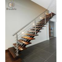 Wooden Tread Stainless Steel Railing Staircase
