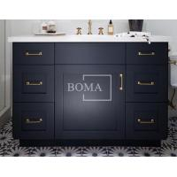 China 48 In Blue Real Wood Single Sink Quality Retro Bathroom Prefab Vanity Restroom Sink Cabinets on sale