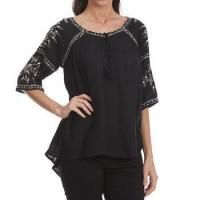 Buy cheap MAISON COUPE Women's Embroidered Woven -Sleeve Shirt with Tassels from wholesalers