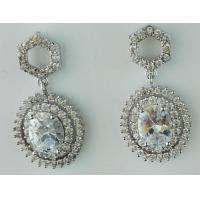 Vintage Bridal Glam CZ Wedding Or Pageant Chandelier Dangle Earrings With Oval-Cut Gems