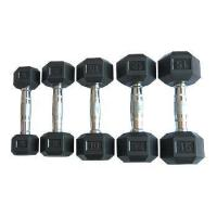 Fitness Black Rubber Hex Dumbbells With Chromed Handle Manufactures