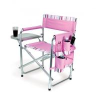 Picnic Time Portable Folding Sports/Camping Chair w/Pockets and Side Table, Pink with Stripes Manufactures