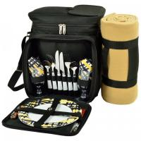 Picnic at Ascot Insulated Picnic Basket/Cooler Fully Equipped for 2 with Blanket - Black/Paris Manufactures