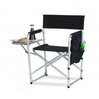 Picnic Plus Directors Sport Chair with Folding Side Table & Side Panel Pockets - Black Manufactures