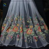 Polyester flower net lace floral embroidery tulle lace fabric for dresses Manufactures