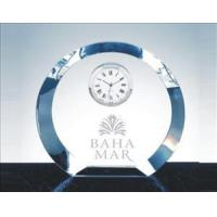 Clocks Engraved Crystal Round Clock with thick Beveled Edge_Luna