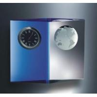 Clocks Engraved Crystal and Blue Planet Clock 4inches H Manufactures