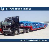 Green , yellow Auto / Car Hauler Carrier Transport Trailer for 8 - 20 cars Capacity Manufactures