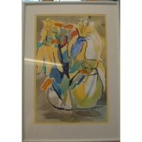 """Abstract in Yellow"" 21"" x 28"" watercolor unframed Origin Painting"
