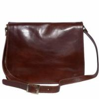 Briefcase with shoulder strap made of genuine calf leather (big) Manufactures