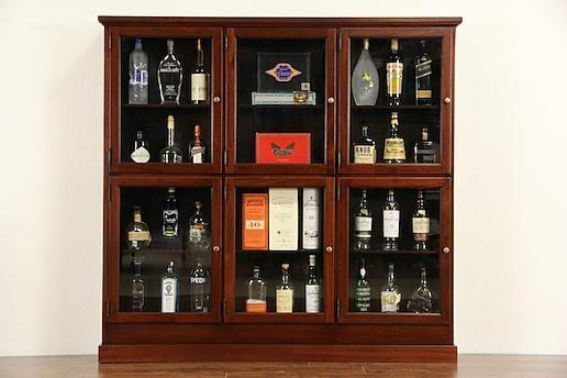 Quality Cigar Tobacco Store Humidor Cabinet, 1900's Antique Mahogany, 6 Glass Doors for sale