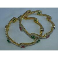 Gold Plated bangles with stones work , set of two pcs J0101 Manufactures
