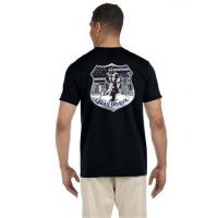 China I Fear No Evil Knight Thin Blue Line Flag Bella Tri Blend Black T Shirt on sale