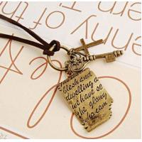 Buy cheap Yiwu Alloy Jewelry Pendant Korean Retro Shakespeare Letter Sweater Chain Necklace Cross Keys from wholesalers