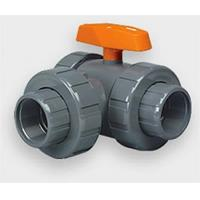 """1/2"""" PVC/FPM Three-Way Lateral Ball Valves - Skt/Thd Manufactures"""