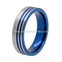China 2016 New style double offset lines blue plated tungsten carbide wedding ring on sale