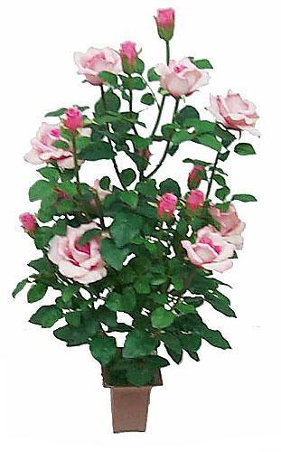 Quality Silk Plants - Pink Rose Bush for sale