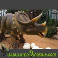 China Life-size triceratops animatronic dinosaur puppets for dino park on sale