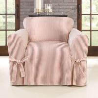 Cotton Blend Ticking Stripe Box Cushioned Chair Slipcover - 310364 by SURE FIT INC. Manufactures