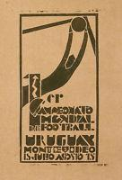 Rare Vintage Poster Of World Champion Soccer Game Urugay Montevideo Fifa C. 1930 Manufactures
