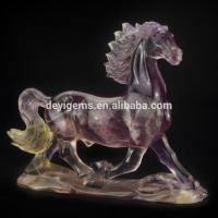 Buy cheap Fluorite Crystal Gemstone Engraving Hand Carved Fun Horse Gifts from wholesalers