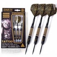 CUESOUL TATTOO Series 23g Black Coated Brass Steel Tip Darts,with Unique Pattern Engraved Manufactures