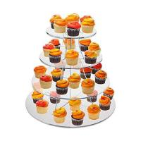 China 8 Inch Tier Clear Acrylic Scalloped Edge Cake Display Cupcake Centerpiece Stand Riser on sale