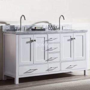 China 60 inch modern Off White Double Sink master Bathroom Vanity with Marble Top