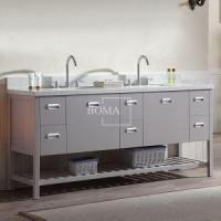 Buy cheap 72 inch White Modern Double Sink unique Bathroom Vanity with Shelf in Slab Door Finish from wholesalers