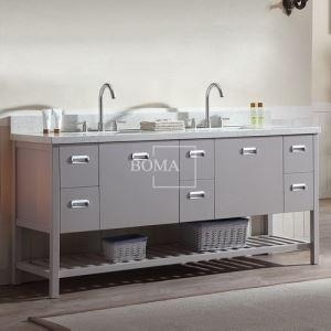 China 72 inch White Modern Double Sink unique Bathroom Vanity with Shelf in Slab Door Finish