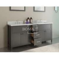 Buy cheap 72 inch Black Bathroom Double Vanity and cabinets with White Quartz Top, Rectangular Undermount sta from wholesalers