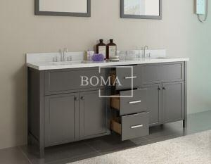 China 72 inch Black Bathroom Double Vanity and cabinets with White Quartz Top, Rectangular Undermount sta