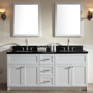 China 72 Double Bowl White Bathroom vanities Cabinets with Black Granite, Framed Mirror and Square Sink mo