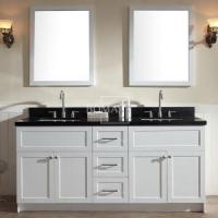 Buy cheap 72 Double Bowl White Bathroom vanities Cabinets with Black Granite, Framed Mirror and Square Sink mo from wholesalers