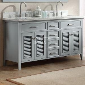 China Grey Painted Farmhouse Bathroom Double Sink Vanity 60 inch with Marble Top Option