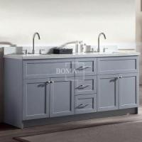 Buy cheap 72 inch Corner Double Sink Grey Bathroom Vanity with Quartz Top from wholesalers